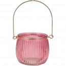 Glass lantern Pendre for hanging, D8cm, H7cm, pink